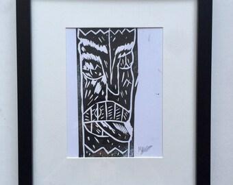Raizo A5 Linocut Print