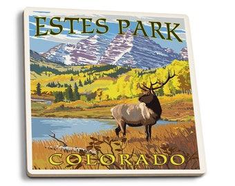 Estes Park, CO - Mountains & Elk - LP Artwork (Set of 4 Ceramic Coasters)
