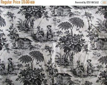 ON SALE Black and White Toile Fabric