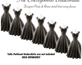 20% OFF Sale! 7 Vintage BRIDESMAID Dresses, Charcoal Grey COUTURE Pinup Swing Dresses with Petticoat, Custom Handmade  by Hardley Dangerous