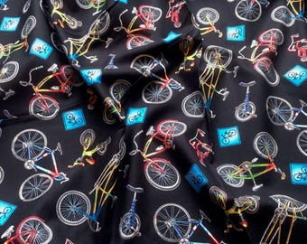 Elizabeth's Studio 'Discounted' In Motion Bicycles Patchwork Quilting Fabric