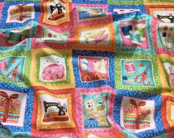 Sew Retro Labels Squares 747 Makower Patchwork Quilting Fabric