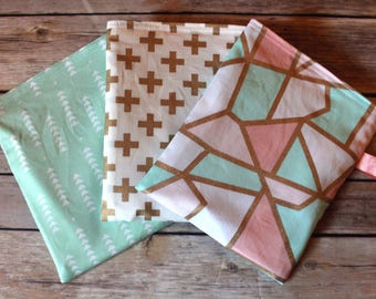 Reusable Snack bag - set of 3 - multi use - lunch bag - Gold/Mint/Coral
