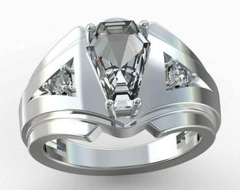 Coffin Gem - 3ct MENS ACCENT RING