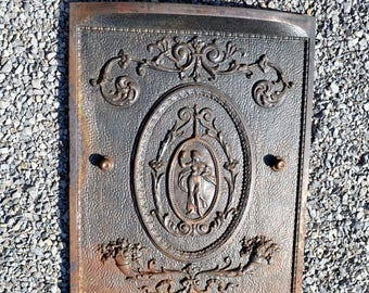 iron fireplace cover. Antique Cast Iron Fireplace Cover Woman Old Ornate Metal Architectural  Salvage Victorian PanchosPorch cast iron Etsy