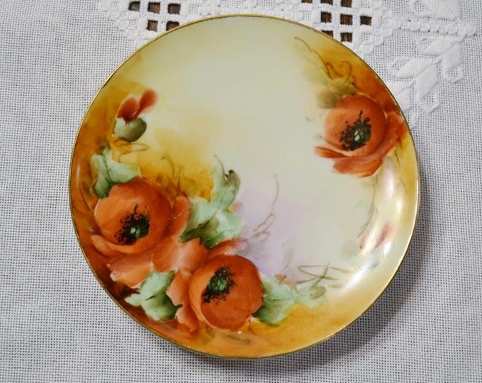 Vintage J & C  Plate Poppy Flowers Jaeger and Co Bavaria Floral Decorative Plate PanchosPorch