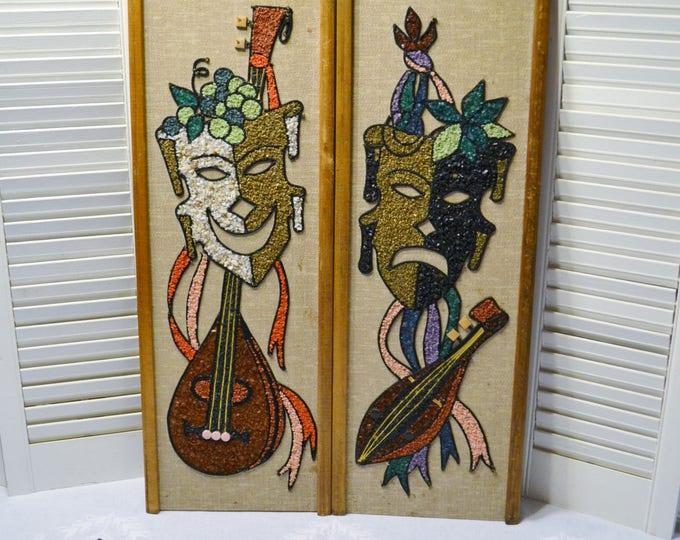 Vintage Theater Comedy Tragedy Masks Gravel Art Set of 2 Mid Century Wall Decor Smile Frown Musical Instrument Muse PanchosPorch