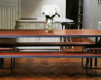 Reclaimed Iroko Wood and Industrial Metal Table / Benches ( Inset )