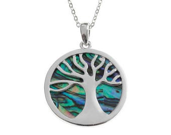 Tide Jewellery Paua Shell Tree Of Life Pendant Gift Boxed