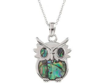 Tide Jewellery Paua Shell Owl Bird Pendant Gift Boxed