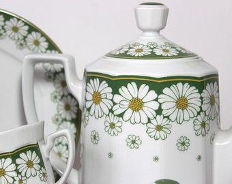 Vintage coffee set , 70s coffee set, daisy,flowers,white, green, bavaria,mitterteich,wedding gift