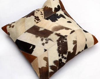 Natural Cowhide Luxurious Patchwork Hairon Cushion/pillow Cover (15''x 15'')a257