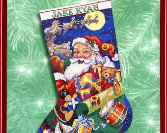 "Bucilla Jolly Old St Nick 18"" Counted Cross Stitch Christmas Stocking Kit #84354"