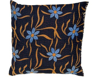 Kantha Cushion Cover - Black background with blue flowers