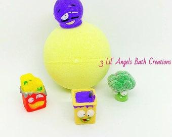 grocery gang, surpise toy bath bomb, bath bomb for kids, fizzy bath bomb