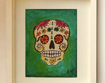 Day of the Dead Original ACEO Skull painting Miniature Art ACEO Acrylic art  Limited Edition ACEO