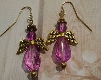Earrings Angels with gold like wings and Lavender beads