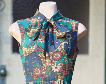 1960s colourful retro dress with bow