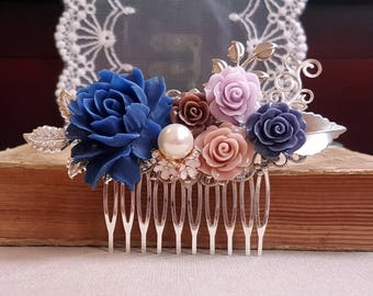 Navy blue rose Silver leaves Country garden hair accessory Bridal silver hair comb Pearl Flower Assemblage Jewelry