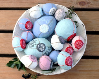 Set of seventeen Easter Eggs | Handmade | Paper Mache | Pink, white, black and light blue and lavender
