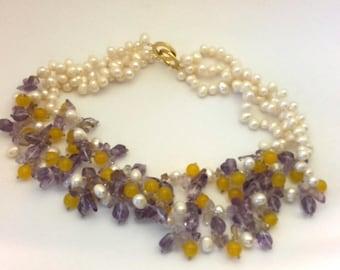 Genuine Pearl Amethyst Jade Beaded Necklace Fantastic 3 Row Vintage (BB602)