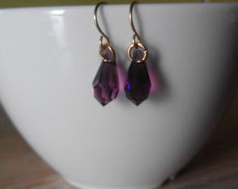 Vintage Earrings Purple Amethyst Glass Facet Drop Gold Plated Brass Hook