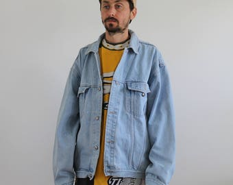 Light Wash Denim Oversized Jacket Mens Large