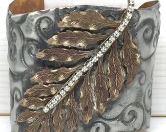 Rhinestone Leaf Cuff Bracelet