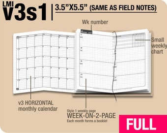 FULL [Field Notes v3s1 w/o DAILY] January to December 2018 - Midori Travelers Notebook Refills Printable Planner.