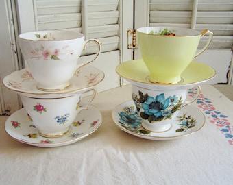 4 Vintage Mismatched Floral Flower Porcelain Cups & Saucers for Tea Party Bridal Luncheon Shower Bridesmaid Gifts Cottage Chic Tea Set