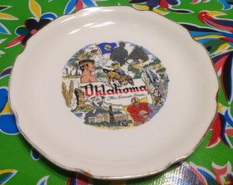 Vintage ceramic souvenir plate- Oklahoma, The Sooner State