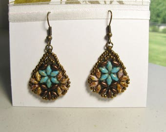 Turquoise Flower Beaded Earrings With Antique Brass Ear Wires