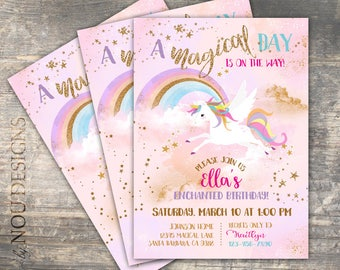 Glitter Sparkle Pegasus Unicorn  Enchanted Rainbow Birthday Invitation Card- Printable File