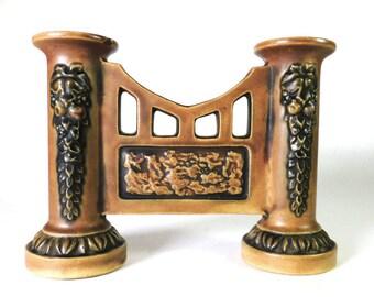 Roseville Pottery Florentine Double Bud Vase Vintage 1920's