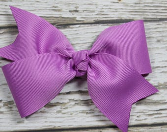 NEW Solid Orchid Basic Boutique Hair Bow on Lined Alligator Clip
