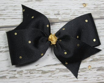 NEW Black w/Gold Polka Dot Toddler/Girl Basic Boutique Hair Bow on Lined Alligator Clip