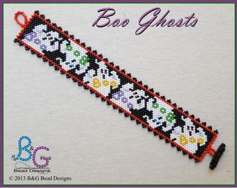 BOO GHOSTS Peyote Cuff Bracelet Pattern
