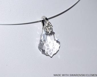 SWAROVSKI white Crystal baroque pendant / silver plated