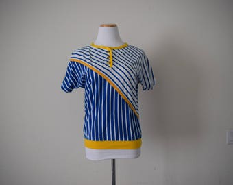 FREE usa SHIPPING Vintage 1980s  striped women's top/blouse/short sleeves size P Petite