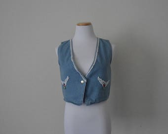 FREE usa SHIPPING Vintage Apparel women's denim  bohemian hipster button up sleeveless vest revival size M