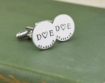 Custom Date and Initial Cuff Links - Hand Stamped Groom Gift - Wedding Gift