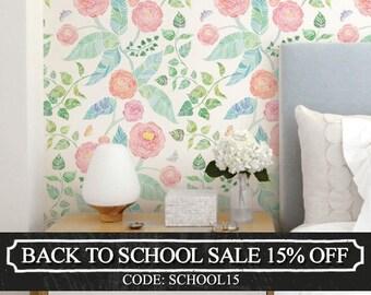 Spring Garden Flowers Pink Peel & Stick Fabric Wallpaper Repositionable
