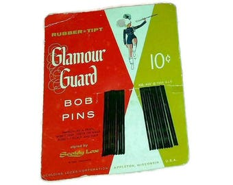 RARE Vintage 1950s HAIR Bob Pins Glamour Guard Bobby Pins Mid Century Hairstyle Marching Band Beauty Salon Advertising Ephemera Vanity Prop