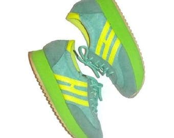 70s Sneakers Sporty Running Shoes Groovy Vintage 1970s Funky Stripe Runners Lime Yellow Blue Euro 36 US 5.5 Ladies Platform Wedge Track Shoe