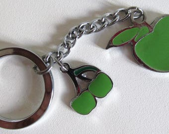 Silver tone fruity purse charm key ring.  Cherry  and apple keychain.