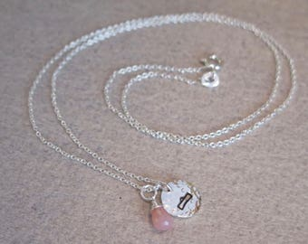 Libra Necklace • Zodiac Necklace • Sterling Silver • Pink Opal • Dainty Necklace • Natural Gemstone • Birthstone Necklace • Birthday Gift