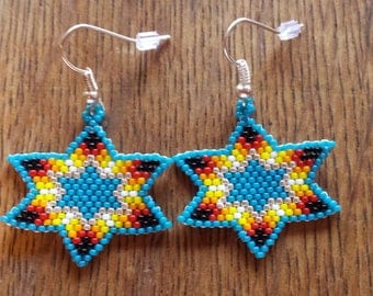 Brick stitch seed bead star earrings