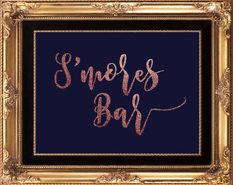 rose gold smores bar sign, printable smores Bar sign, digital smores bar sign, navy smores bar sign, 8 x 10, you print