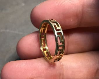 Size 4.5, vintage real 14K gold ring, solid yellow gold band, stamped 14K