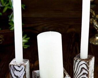 8% OFF Candle Holder, Wood Candle Holders Set, Wedding Unity Candle, Ceremony Candles, White Unity Candle, Wedding Vintage, Personalized, 3p